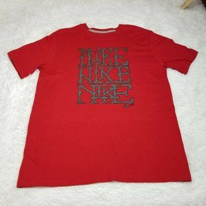 Nike Mens Spellout T Shirt Large L Regular Fit Red